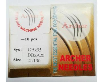 Игла DBx95 Archer с тонкой колбой для прямострочных  швейных машин,средние и тяжелые ткани