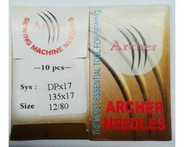 Игла DPx17 Archer для колонковых и прямострочных машины, тяжелых ткани и кожа